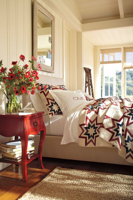 farmhouse red white and blue