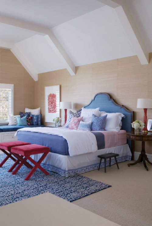traditional bedroom red white blue