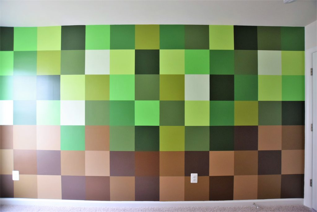 completed minecraft mural