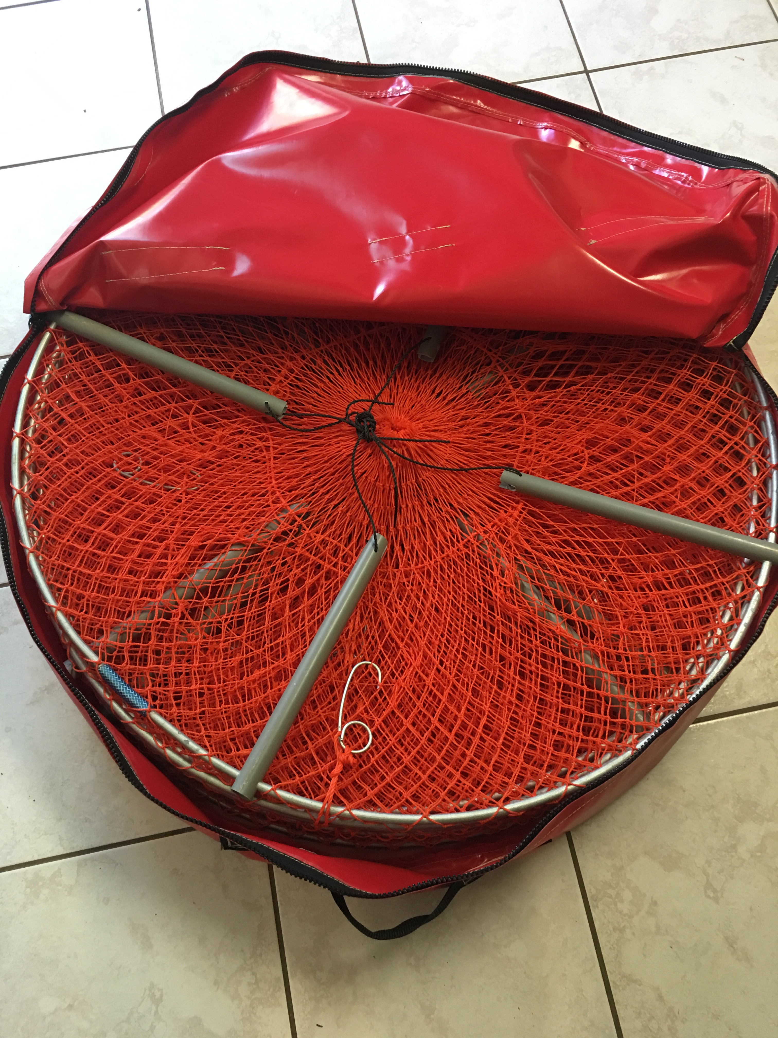 Crab Pot Bag Red Top Open with Pots