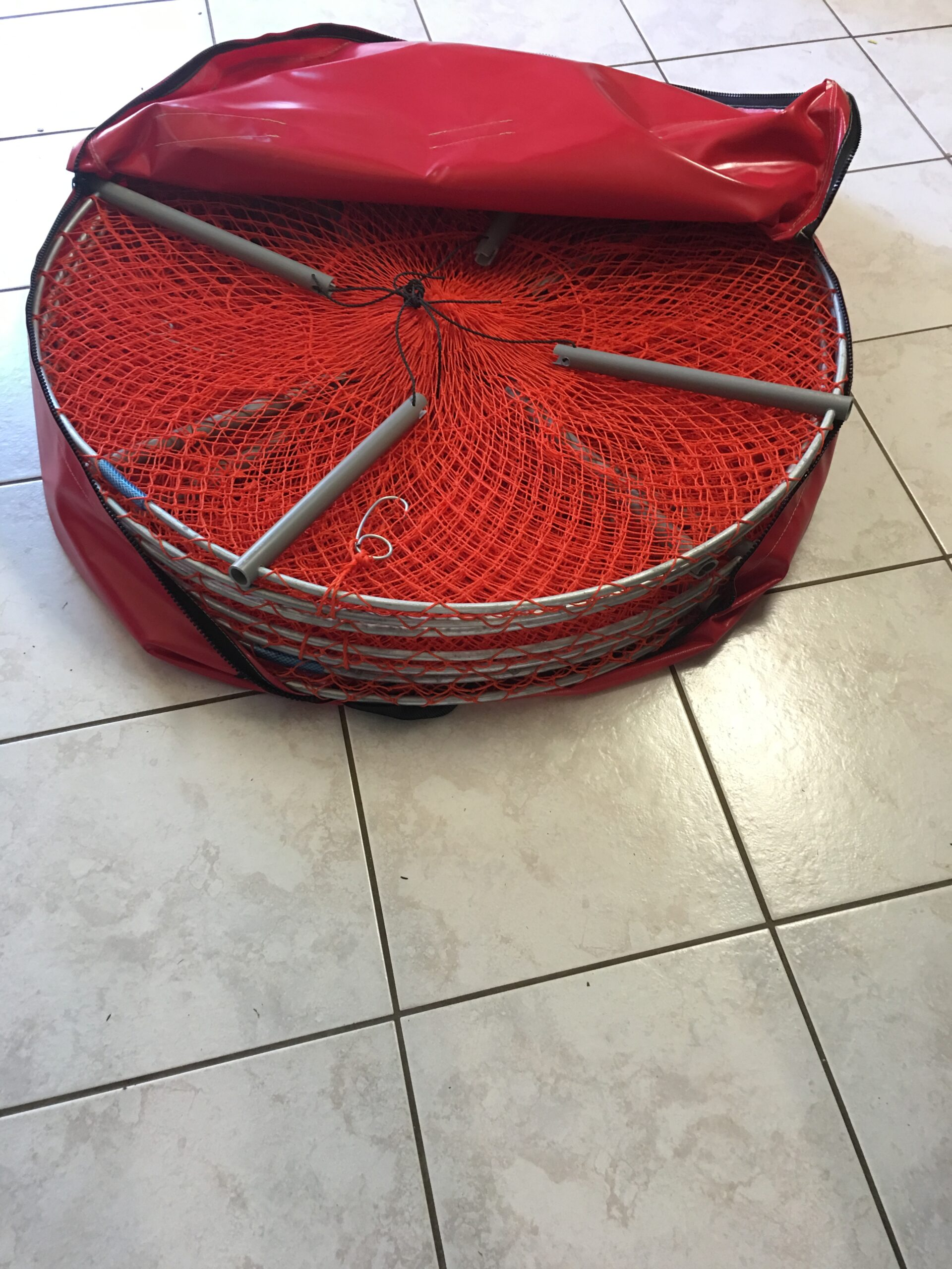 Crab Pot Bag Red Open with Pots