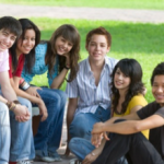 adolescents in a group