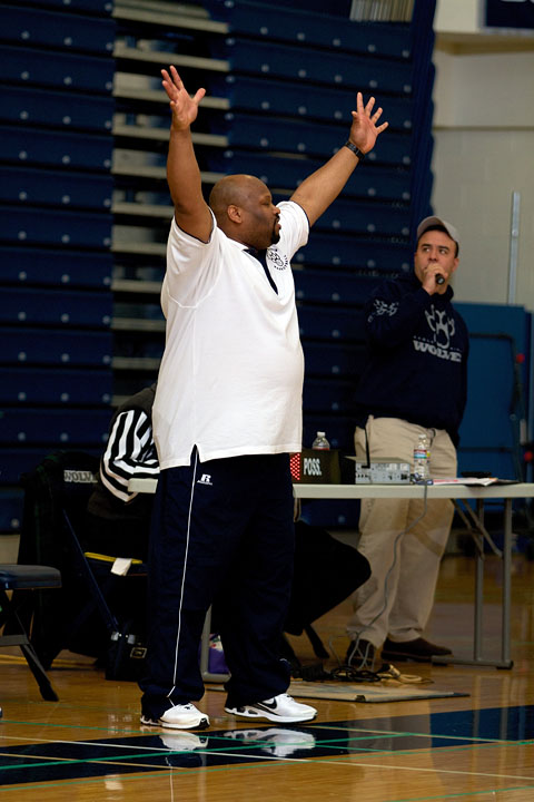 Coach Harrison yells for the defense to get their hands up