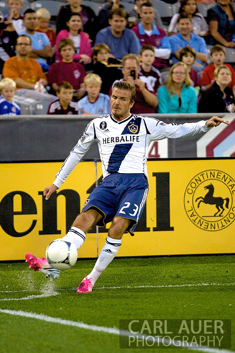September 30, 2012: Los Angeles Galaxy midfielder David Beckham (23) takes a corner kick during the MLS Soccer Match between the Colorado Rapids and the Los Angeles Galaxy at Dick's Sporting Goods Park in Commerce City, Colorado