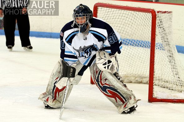 December 11th, 2012: The Ralston Valley goalie watches the action in the game against Valor  at the APEX Ice Arena on Tuesday night