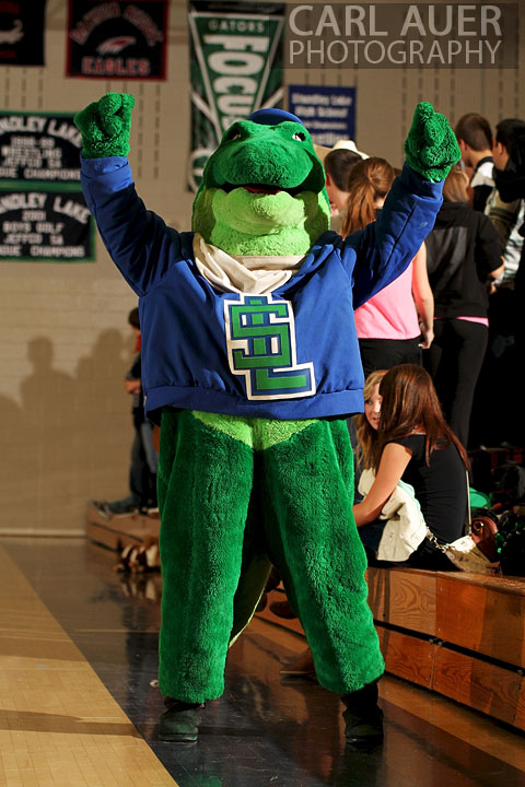 December 12, 2012: The Standley Lake Gator pumps up the crowd in the Swamp, the gym, at Standley Lake during the basketball game against Legacy High School on Thursday night.