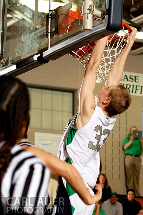 December 12, 2012: A Standley Lake player heads to the rum for a dunk against Legacy on Thursday night.