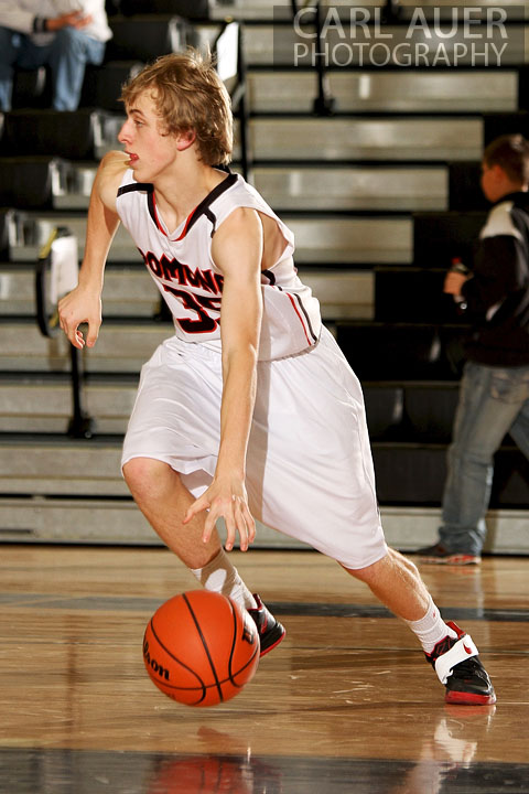 December 14, 2012: Pomona Panther sophomore Ryan Ward (35) dribbles the ball in the Panthers game against the Wheat Ridge Farmers on Friday night at Pomona High School.