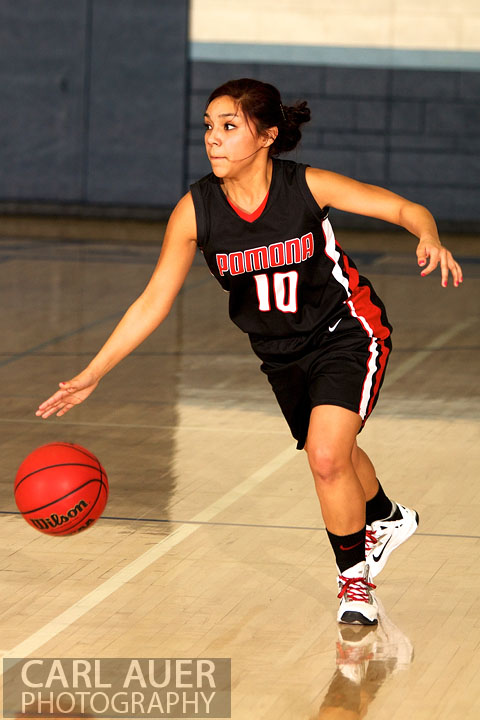 January 5th, 2013: A Pomona Panther player brings the ball up the court in the game against the Ralston Valley Mustangs at Ralston Valley High School.