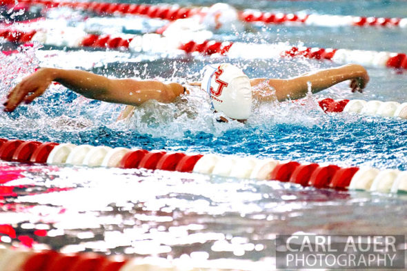 January 8th, 2013: Regis Jesuit High School swimmer and Olympic Gold medalist Missy Franklin doing a butterfly stroke in one of her 4 heats during the dual meet between Regis Jesuit and Highlands Ranch on Tuesday evening in Aurora, Colorado