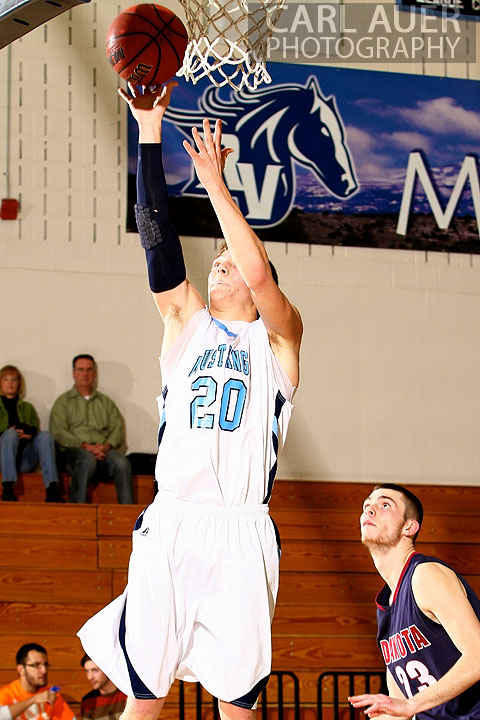 February 20th, 2013: Ralston Valley Mustang senior guard Spencer Svejcar (20) attempts a fast break lay up in the game against Dakota Ridge High School at Ralston Valley High School