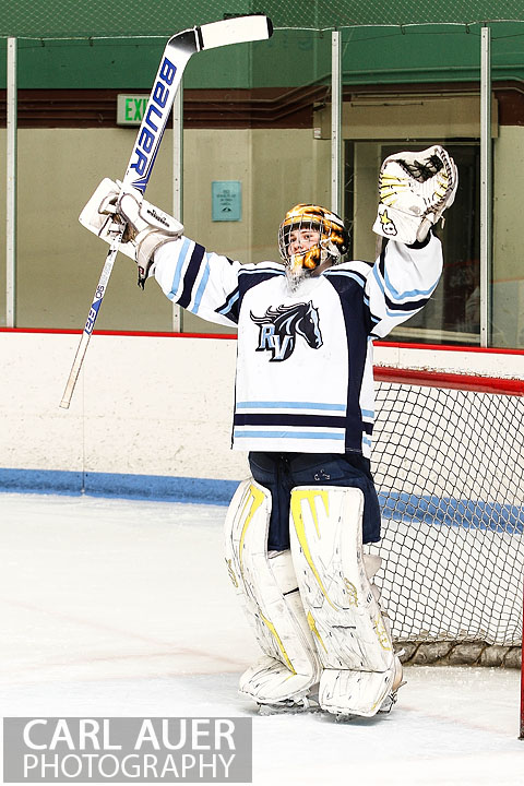 February 23, 2013: Arvada, Colorado - Ralston Valley Mustang goalie Zach Larocque celebrates his team advancing into the Frozen Four after the victory over Standley Lake in the playoff game at the Apex Center in Arvada