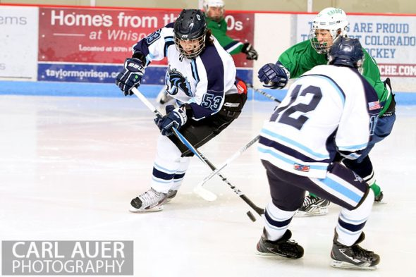 February 6th, 2013: Ralston Valley Mustang forward Darius Maes (53) makes a move with the puck against Standley Lake in their game at the Apex Ice Arena in Arvada, Colorado
