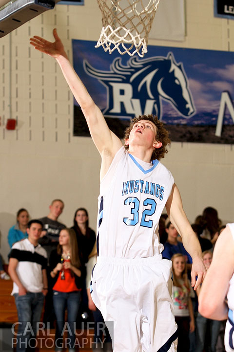 February 8th, 2013: Ralston Valley Mustang forward Jonathan Gillespie (32) lays up a shot in the game against Bear Creek High School at Ralston Valley High School in Arvada, Colorado