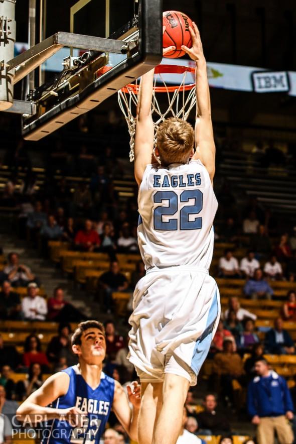 March 15th 2013:  Valor Christian Eagles junior forward Chase Foster (22) elevates for a two handed dunk in the CHSAA 4A Final Four game against the Broomfield Eagles at the Coors Events Center in Boulder, Colorado