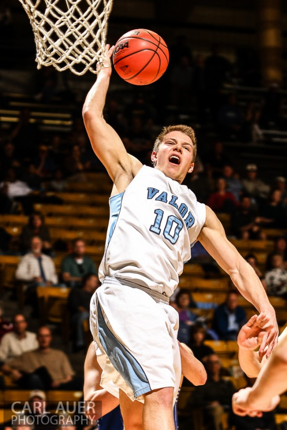 Valor Christian Eagles junior guard Christian McCaffrey (10), the son of former NFL great Ed McCaffrey, loses the ball on his way to the hoop in the CHSAA 4A Final Four game against the Broomfield Eagles at the Coors Events Center in Boulder, Colorado