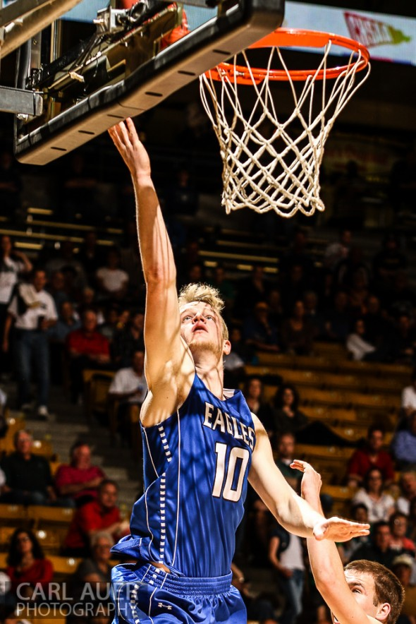March 15th 2013:  Broomfield Eagles senior forward Dan Perse (10) attempts a lay up in the game against the Valor Christian Eagles in the first game of the CHSAA 4A Final Four game at the Coors Events Center in Boulder, Colorado