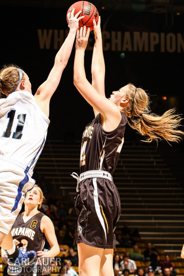 March 14th, 2013:  Arapahoe Warriors senior Savanah Nelson (44) has her shot blocked by Highlands Ranch Falcons senior Madison Montgomery (11) in the CHSAA 5A Girls Final Four game at the Coors Events Center in Boulder, Colorado