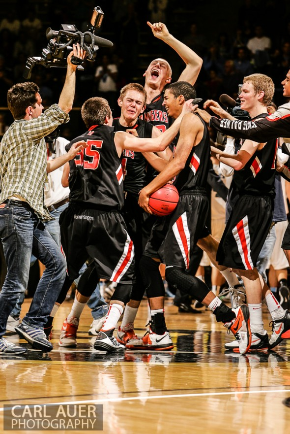 March 16th, 2013:  The Lewis-Palmer Rangers celebrate winning the CHSAA 4A State Championship game against the Valor Christian Eagles at the Coors Events Center in Boulder, Colorado