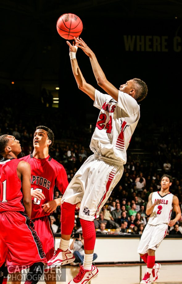 March 16th, 2013:  Denver East Angels junior guard Dominique Collier (24), the Gatorade Player of the Year for Colorado, elevates for a shot attempt over the Eaglecrest Raptors defense in the 5A State Championship game at the Coors Events Center in Boulder, Colorado