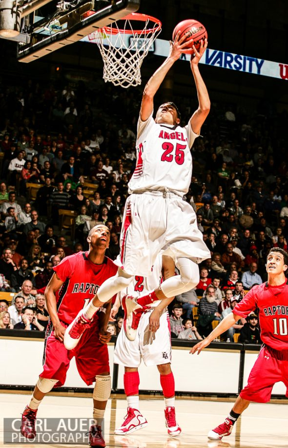 March 16th, 2013:  Denver East Angels junior guard Ronnie Harrell (25) attempts to convert an ally-oop in the 5A State Championship game against the Eaglecrest Raptors at the Coors Events Center in Boulder, Colorado