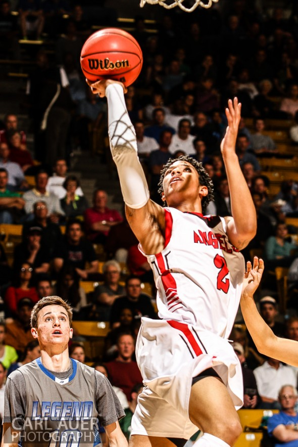 March 15, 2013: Denver East Angels junior guard Jevon Griffin (2) puts up a shot attempt in the CHSAA 5A Final Four game against the Legend Titans at the Coors Events Center in Boulder, Colorado