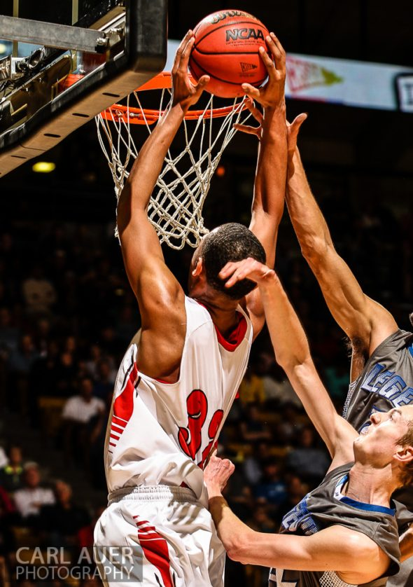 March 15, 2013: Denver East Angels junior forward Tyre Robinson (32) attempts a dunk in the CHSAA 5A Final Four game against the Legend Titans at the Coors Events Center in Boulder, Colorado