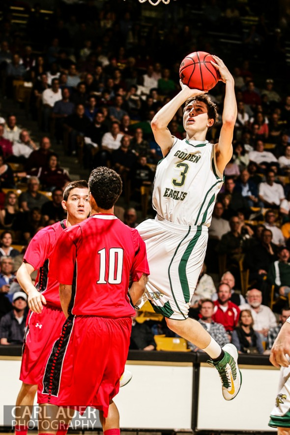 March 15th, 2013: Mountain Vista Golden Eagles junior guard Jake Pemberton (3) pulls up a shot attempt in the CHSAA 5A Final Four game against the Eaglecrest Raptors at the Coors Events Center in Boulder, Colorado