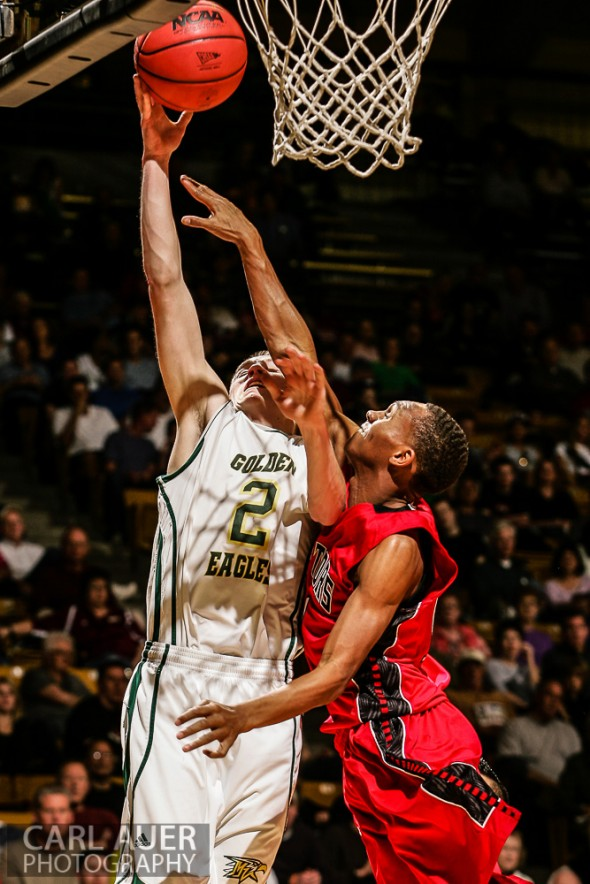March 15th, 2013: Mountain Vista Golden Eagles senior forward Chandler Wiscombe (2) attempts a lay up in the CHSAA 5A Final Four game against the Eaglecrest Raptors at the Coors Events Center in Boulder, Colorado