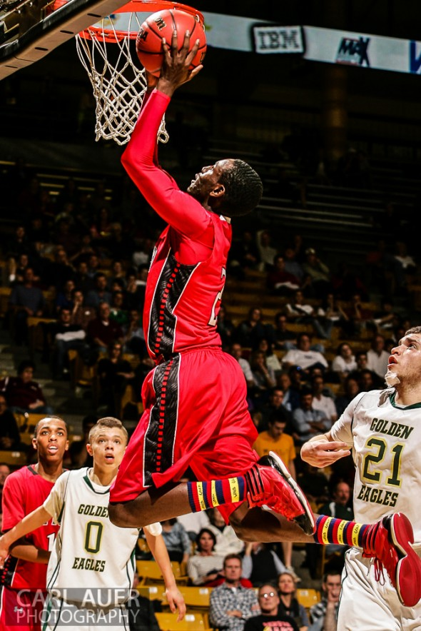 March 15th, 2013: Eaglecrest Raptors senior guard TreShawn Wilford (21) elevates for a shot attempt against the Mountain Vista Golden Eagles in the CHSAA 5A Final Four game at the Coors Events Center in Boulder, Colorado