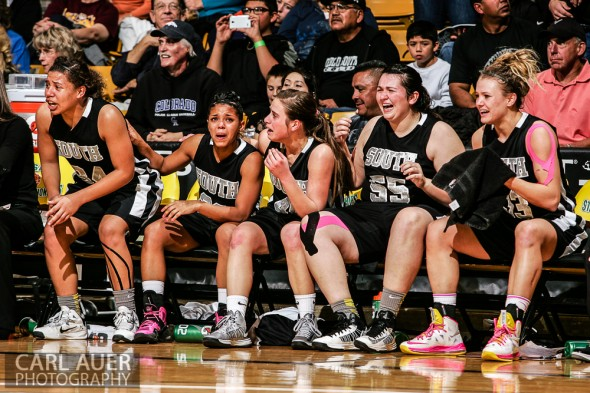 March 16th, 2013: The Pueblo South Colts starters begin to realize they are about to win the State Championship against the D'Evelyn Jaguars in the CHSAA 4A State Tournament at the Coors Events Center in Boulder, Colorado