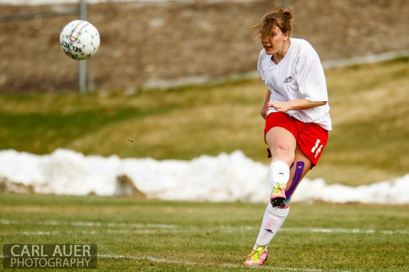 April 25th, 2013: Arvada Bulldog defender Maraya Brethauer (14) takes the goal kick against the Green Mountain Rams at the North Area Athletic Complex in Arvada, Colorado
