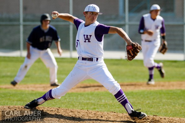 April 26th, 2013: Arvada West Wildcat pitcher Justin Mulvaney (5) delivers a pitch in the game against the Columbine Rebels at Arvada West High School in Arvada, Colorado