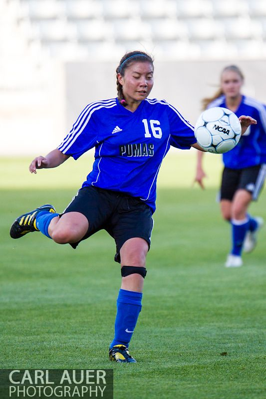 May 21, 2013: Peak to Peak Pumas sophomore defender Grae Roda (16) clears the ball against The Classical Academy Titans in the Colorado 3A Girls High School Soccer Championship Game at Dick's Sporting Goods Park in Commerce City, Colorado