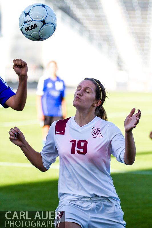 May 21, 2013: The Classical Academy Titans freshman Mikayla Murphy (19) sets to head the ball in the Colorado 3A Girls High School Soccer Championship Game against the Peak to Peak Pumas at Dick's Sporting Goods Park in Commerce City, Colorado