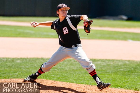 May 24, 2013 - Durango Demon's starting senior pitcher Ty Elliott (4) delivers a pitch against Valor Christian in the CHSAA 4A Semi-Final game at All-Star Park in Lakewood, Colorado