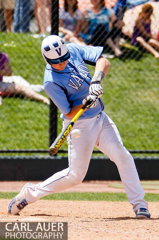 May 24, 2013 - Valor Christian junior Hayden Gerlach (23) puts the bat on the ball against the Durango Demons in the CHSAA 4A Semi-Final game at All-Star Park in Lakewood, Colorado
