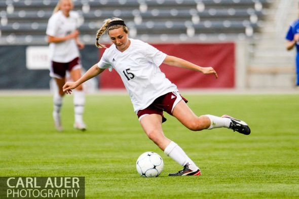 May 22, 2013 - Cheyenne Mountain Indians junior midfielder Ellen Smith (15) makes a cut with the ball against the Broomfield Eagles in the CHSAA 4A Girls Soccer Championship Game at Dick's Sporting Goods Park in Commerce City, Colorado