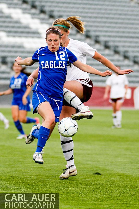 May 22, 2013 - A Broomfield Eagles player intercepts the ball from a Cheyenne Mountain Indians player in the CHSAA 4A Girls Soccer Championship Game at Dick's Sporting Goods Park in Commerce City, Colorado