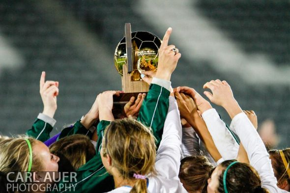 May 22, 2013 - The Mountain Vista Golden Eagles raise the Colorado 5A State Championship trophy over their heads after defeating the Rock Canyon Jaguars 1-0 in overtime at Dick's Sporting Goods Park in Commerce City, CO