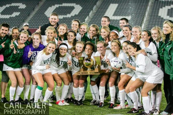 May 22, 2013 - The Mountain Vista Golden Eagles pose with the Colorado 5A State Championship trophy after defeating the Rock Canyon Jaguars 1-0 in overtime at Dick's Sporting Goods Park in Commerce City, CO