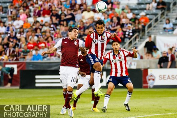 May 25th, 2013 - Chivas USA defender Mario de Luna (3) heads the ball away from his goal to thwart a Colorado scoring attempt in the first half of the MLS match between Chivas USA and the Colorado Rapids at Dick's Sporting Goods Park in Commerce City, CO