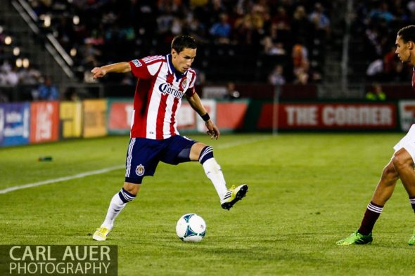 May 25th, 2013 - Chivas USA midfielder Eric Avila (15) handles the ball in the second half of the MLS match between Chivas USA and the Colorado Rapids at Dick's Sporting Goods Park in Commerce City, CO