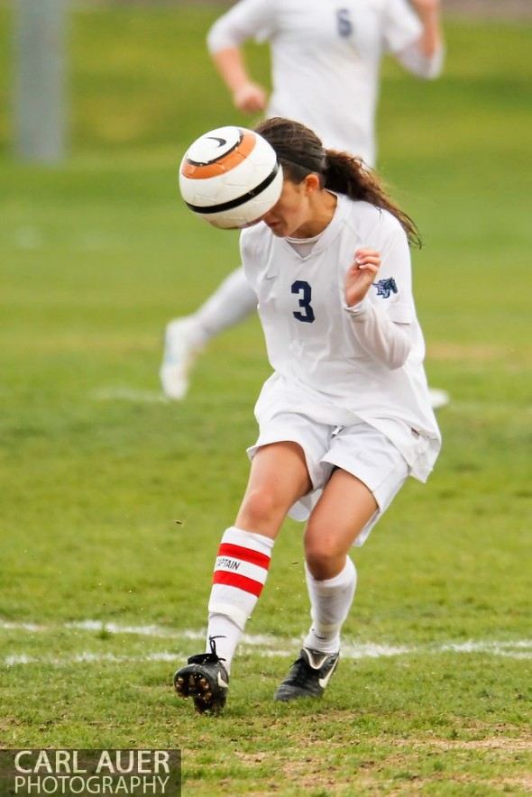May 8th, 2013: Ralston Valley Mustangs junior Shae Sellers (3) heads the ball in the CHSAA 5A Soccer Playoff game against ThunderRidge Grizzlies at the North Area Athletic Complex in Arvada, Colorado