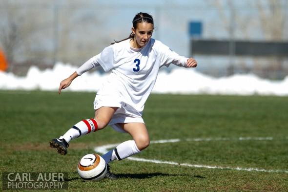 May 2nd, 2013: Ralston Valley Mustang junior defender Shae Sellers (3) handles the ball in the game against the D'Evelyn Jaguars at the North Area Athletic Complex in Arvada, Colorado