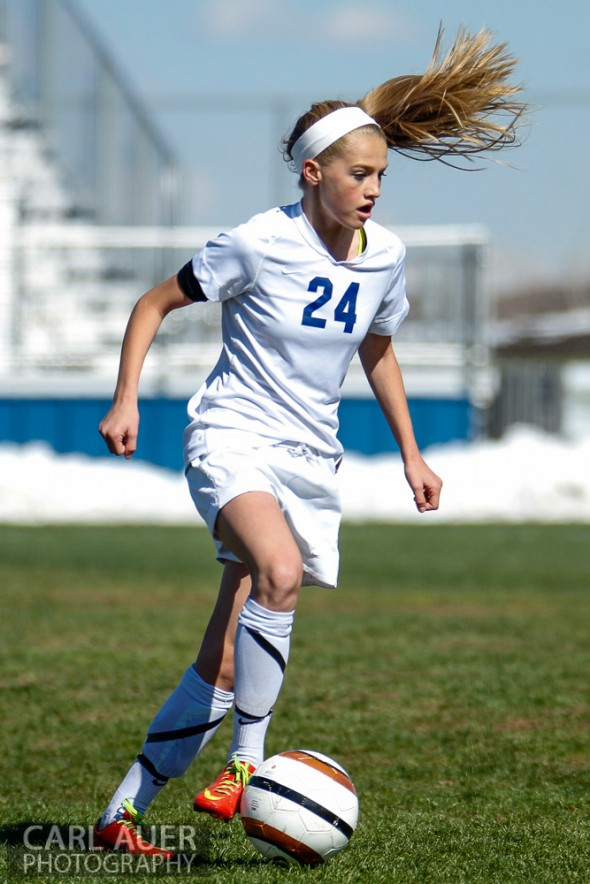 May 2nd, 2013: Ralston Valley Mustang freshman midfielder Alyssa Kaiser (24) controls the ball in the game against the D'Evelyn Jaguars at the North Area Athletic Complex in Arvada, Colorado