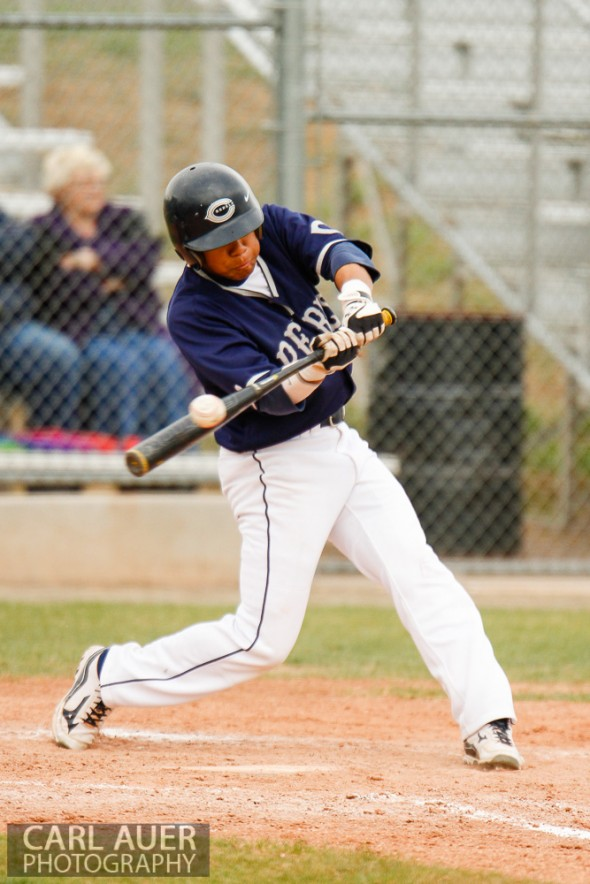 April 30th, 2013: Columbine Rebel junior Donny Ortiz (3) puts the bat on the ball in the game against the Ralston Valley Mustangs at Ralston Valley High School