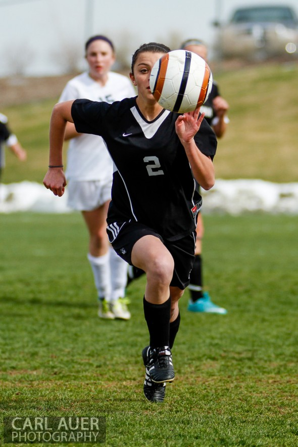 May 3rd, 2013: A Pomona Panthers player chases after the ball in the game against the Ralston Valley Mustangs at the North Area Athletic Complex in Arvada, Colorado