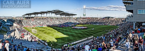 June 1st, 2013 - A composite panoramic view of the pitch prior to the teams taking the field prior to the start of the MLS match between FC Dallas and the Colorado Rapids at Dick's Sporting Goods Park in Commerce City, CO