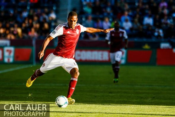 June 1st, 2013 - Colorado Rapids midfielder Atiba Harris (16) passes the ball in the first half of action in the MLS match between FC Dallas and the Colorado Rapids at Dick's Sporting Goods Park in Commerce City, CO